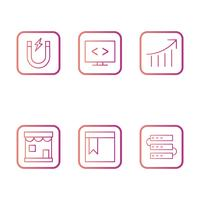 Ensemble d'icônes d'optimisation de moteur de recherche vecteur référencement