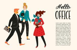 Ilustración vectorial de personas de oficina. Oficinistas, empresarios, directivos.