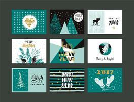 Satz künstlerische kreative frohe Weihnachten und neues Jahr