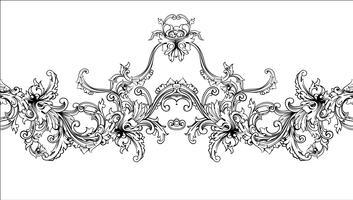 Borde ornamental, marco. Patrón barroco. Vector sin fisuras.