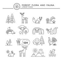 Vector linear icons of forest flora and fauna.