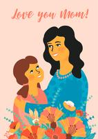 Happy Mothers Day. Vector illustration with women and child.