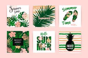 Ensemble de dessins tropicaux de l'été. Modèles de vecteur.