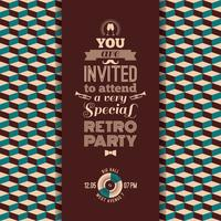Convite para festa retrô. Fundo geométrico retrô vintage.