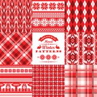 Christmas and New Year Set.Plaid and ornamental seamless backgro