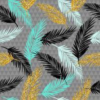 Naadloos exotisch patroon met palmbladsilhouetten.