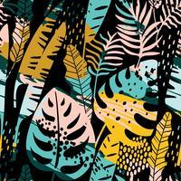 Modèle exotique sans couture avec plantes tropicales et fond artistique.
