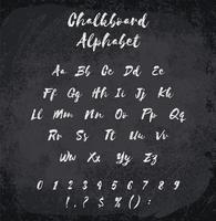 Vector illustration of chalked alphabet. Imitation texture of chalk