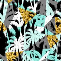 Naadloos exotisch patroon met palmbladsilhouetten. Gouden glitter textuur.