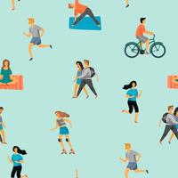 Vector seamless pattern with active young people.