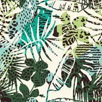 Trendigt sömlöst exotiskt mönster med palm, djurtryck och handritade texturer.