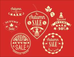 Set di etichette e segni di vendita autunno