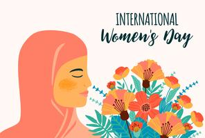 International Women s Day. Vector template with arab woman and flowers