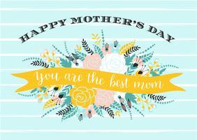 Tarjeta de felicitación feliz de las letras del día de madres con las flores.