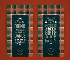 Happy birthday invitation, vintage retro background with plaid p