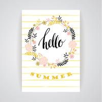 Summer floral card template. Vector illustration