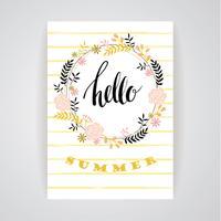 Sommer floral Kartenvorlage. Vektor-Illustration