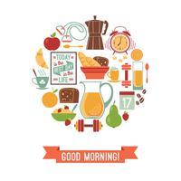 Vector modern flat design illustration of  Good morning.