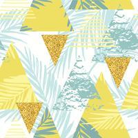 Nahtloses exotisches Muster mit Palmblättern auf geometrischem Hintergrund