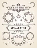Ensemble de badges, cadres, étiquettes et bordures vintage rétro.