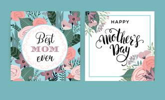 Happy Mothers Day. Vector template with flowers.