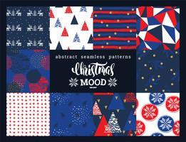 Set de navidad y año nuevo. Abstractos patrones geométricos y ornamentales sin costura.
