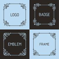 Insignes et cadres de contour de vecteur.