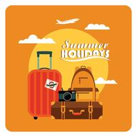 Vector flat  illustration of summer vacation.