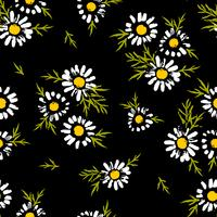 Abstract floral seamless pattern with chamomile. Trendy hand drawn textures