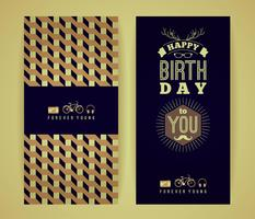 Happy birthday congratulations, vintage retro background with ge