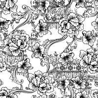 Nahtloses Muster des vielseitigen Gewebes. Ethnischer Hintergrund mit barocker Verzierung.
