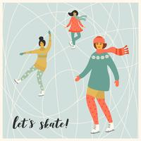 Vector illustration of women skate. Trendy retro style.
