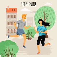 Vektor illustration av löpande kvinna och man. Hälsosam livsstil.
