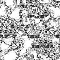 Eklektiskt tyg sömlöst mönster. Etnisk bakgrund med barock prydnad.