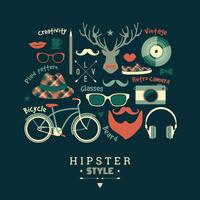 Flat design vector illustration of hipster style.