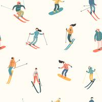 Vektor illustration av skidåkare och snowboardåkare. Sömlöst mönster.