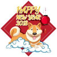 Guten Rutsch ins Neue Jahr-Kartendesign mit Hund auf Wolken