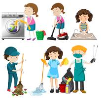 Set of people cleaning