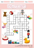 Toys crossword sheet template