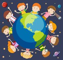 Crianças, ao redor, mundo, conceito
