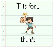 Flashcard letter T is for thumb