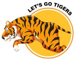 Tigre en plantilla de etiqueta