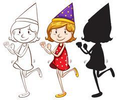Um, feliz, menina, com, um, chapéu partido