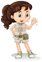 A Safari Girl on White Background