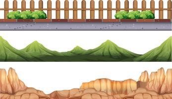Sömlös bakgrund med moutains och staket