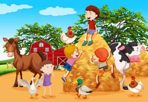 Kids playing in the farmyard