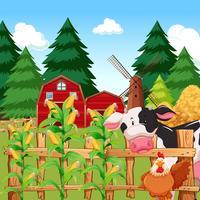 Uma fazenda de milho com animais