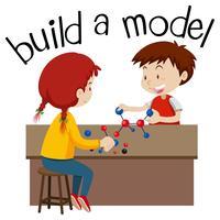 Wordcard para construir un modelo con dos niños jugando