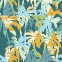 Seamless exotic pattern with palm leaves on geometric background
