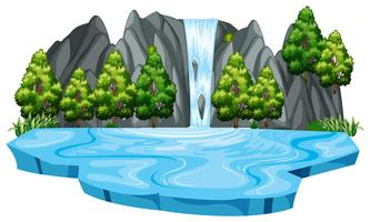 Plantilla de paisaje cascada aislada